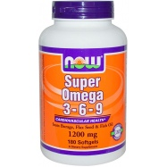Now Super Omega 3-6-9 1200 мг 180 гелевых капсул